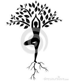 "Yoga tree pose silhouette ""rooted yoga"""