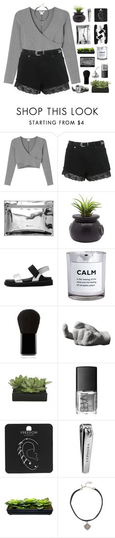 """older // plainer // saner"" by centurythe ❤ liked on Polyvore featuring Monki, Miss Selfridge, Dot & Bo, H&M, Edward Bess, Areaware, Lux-Art Silks, NARS Cosmetics, Topshop and Sephora Collection"