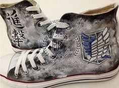 Attack on Titan Converse, Custom Converse gift, Men Women Shoes Custom, Handpainted Canvas Shoes, Sneakers Custom Cartoon Converse All Star, Converse Shoes, Shoes Sneakers, Converse Style, Custom Converse, Custom Shoes, Boys Shoes, Me Too Shoes, Levi X Eren