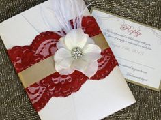 VINTAGE GLAMOUR - Red Lace Wedding Invitation