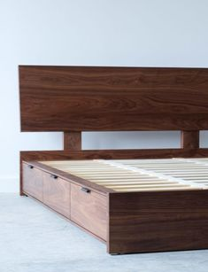 Woodworking For Beginners Tools Wooden Bed With Storage, Bed Designs With Storage, Bed Frame With Drawers, Bed Frame With Storage, Diy Bed Frame, Storage Beds, Platform Bed With Drawers, Wood Bed Design, Bed Frame Design