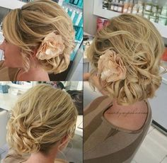 side messy curly updo