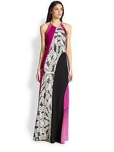 Diane von Furstenberg Naomi Silk Mixed-Print Maxi Dress  Mixed prints are gorgeous!