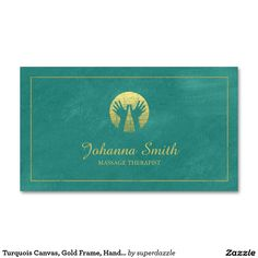 Turquoise Canvas, Gold Frame, Hands Massage Therapy Appointment business card template with an image of a grunge golden hands (golden effect only not real gold color) with canvas texture. An appointment card on the back of this Massage Therapist business card template, which helps you distributed your business cards. You can change text and background colors to make them perfect for your taste. A great design for Massage, Therapist, Therapy, Chiropractor, Spa, Health & Beauty Treatment etc…