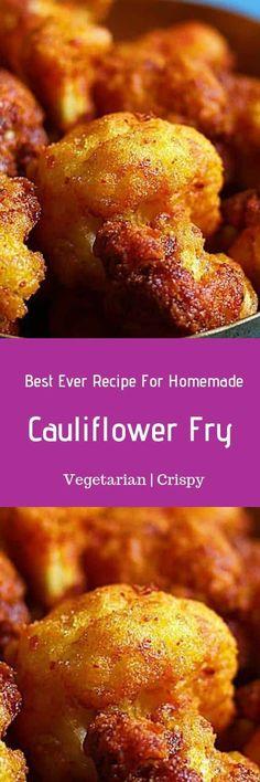 Cauliflower fry recipe with step by step photos.Street style crispy and deliciou. Easy Vegetarian Dinner, Tasty Vegetarian Recipes, Vegan Dessert Recipes, Indian Food Recipes, Real Food Recipes, Snack Recipes, Cooking Recipes, Healthy Recipes, Vegan Vegetarian