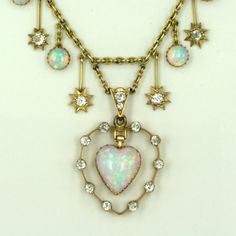 Antique opal and diamond necklace c.1900