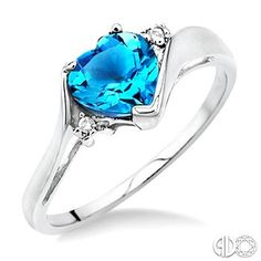 7mm Heart Cut Blue Topaz and 1/50 Ctw Single Cut Diamond Ring in 14K White Gold