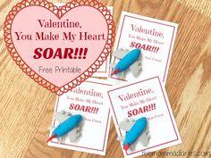 Valentine You Make My Heart SOAR -- FREE Printable! Airplane Valentines
