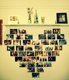 Heart photo decoration, cheap decoration idea. A way to make my room at Cumberland feel more colourful