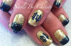Hot Blue And Gold Sparkle Notre Dame Shellac Nails Christy @ Mane Tamers in Mishawaka