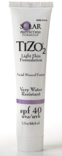 Solar Protection Formula TIZO 2 Facial Mineral Fusion Broad Spectrum Sunscreen SPF 40 - For Light Skin Tones by Solar Protection Formula. $25.41. Fragrance free, dye free, oil free and PABA-free. No preservatives or chemical sunscreen filters. Won't clog pores for those with oily, acne-prone skin!. Using a proprietery multiple particle size technology in an elegant base, this sunscreen has been created with titanium dioxide and zinc oxide and is water resistant to ...