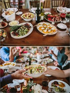 Wedding Reception Food family style dinner - Rustic Wedding at Leiper's Fork Inn photographed by Brad Wedding Reception Food, Wedding Dinner, Wedding Catering, Bali Wedding, Wedding Menu, Party Wedding, Rustic Wedding, Dream Wedding, Raw Food Recipes