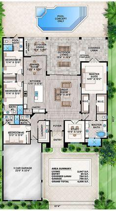 Plans Maison En Photos 2018   Image   Description  #EliseFranck Plan de maison avec 1 suite parentale / 3 chambres / piscine, jacuzzi / laverie