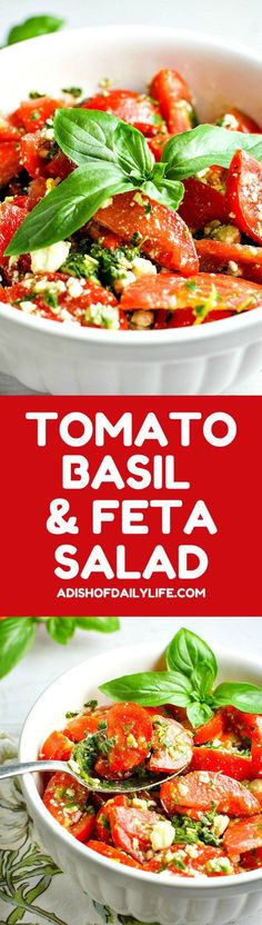 Colorful, healthy, and packed with flavor, this easy Tomato, Basil and Feta Summer Salad is the perfect side dish for any summer dinner, and even makes for a wonderful light lunch as well. Go ahead and customize it by adding in cucumber or even summer cor