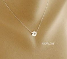 Custom Initial Necklace Solitary Tiny Disc Charm by hotmixcold-push present?