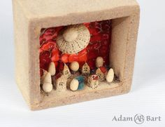 Ceramic Diorama / Tiny House / Small Town / Pottery / Moon / Unique / Sculpture / 3D Picture / Small House / Hand Made / Frames / Clay (242) by Euble on Etsy