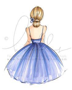 Violeta grabado de la ilustración de moda por HNIllustration