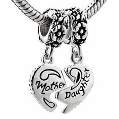 Pugster Mother Daughter 925 Sterling Silver Love Heart Beads Charms Fit Pandora Chamilia Biagi Charm Bracelet Pugster. $32.49. Made of 925 sterling silver. Pugster Beads are compatible with Pandora, Chamilia, Biagi & other styles of European bracelets. Core is not threaded to easily slide onto various european bracelets & necklaces. Hole size is approximately 4.8 to 5mm. Dimension of beads are approximately 14mm by 9mm. Shape is round disc