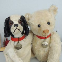 Red Steiff collar....I am thinking of getting one for a Steiff doggy I have. Photo via Ebay
