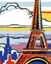 grafico de punto de cruz en pdf para imprimir y bordar paisaje de Paris con torre Eiffel