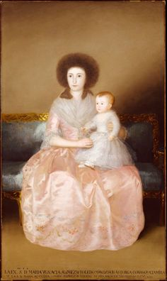 Artist Goya (Francisco de Goya y Lucientes) (Spanish, Fuendetodos 1746–1828 Bordeaux)  TitleCondesa de Altamira and Her Daughter, María Agustina  Date1787–88  CultureSpanish  MediumOil on canvas  Dimensions76 3/4 x 45 1/4 in. (195 x 115 cm)  ClassificationPaintings  Credit LineRobert Lehman Collection, 1975 1975.1.148  Accession Number1975.1.148