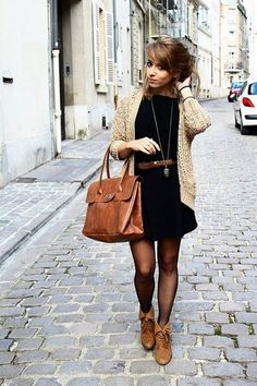 Cardigan layered over a Belted Dress with tights and Ankle Boots / Shoes  - School Appropriate Outfit  #favorite_pin