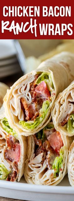 These Chicken Bacon Ranch Wraps are a super simple lunch recipe that are cool, creamy and filled with crisp bacon. Chicken Wraps, Chicken Bacon Ranch Wrap, Chicken Tacos, Buffalo Chicken, Le Diner, Healthy Cooking, Healthy Food, Healthy Chicken, Healthy Wraps