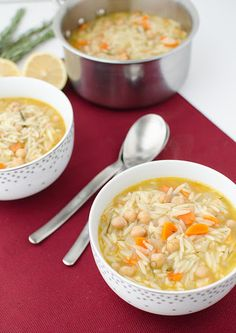 Lemon Chickpea Orzo Soup With Olive Oil, Onions, Carrots, Celery Ribs, Garlic Cloves, Dried Thyme, Vegetable Broth, Chickpeas, Rosemary, Orzo, Bay Leaf, Fresh Lemon Juice