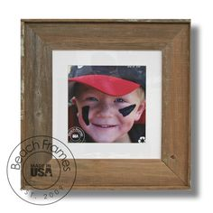 """10 x 10 square picture (22"""" x 22"""" frame) - Natural Unfinished Reclaimed Wood (CL2210-NAT) - an orginal high quality handcrafted frame by Beach Frames, Est. 2009.  Made from naturally weathered reclaimed cypress wood - NOT dingy pallet wood.  #homedecor  #reclaimedwood  #shabbychicdecor  #beachframes  #10x10picture"""