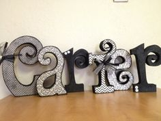 cute decoupaged letters with embellishments
