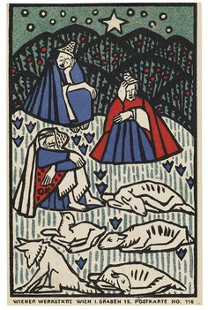 Sleeping Shepherds with Their Flock: Oskar Kokoschka, Color lithograph Art Nouveau Poster, Different Art Styles, Chef D Oeuvre, Fantastic Art, Christmas Art, Xmas, Les Oeuvres, Painting Prints, Printmaking