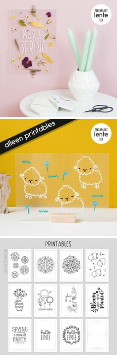 Lente set met 10 printables (en gedroogde bloemen) die precies op de #tekenplaat (19 x 27 cm) passen.