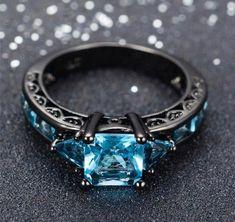 Gothic Engagement Ring, Vintage Engagement Rings, Wedding Engagement, Black Gold Engagement Rings, Solitaire Engagement, Fantasy Jewelry, Gothic Jewelry, Aquamarine Gemstone, Gemstone Rings