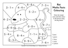 Rat maths facts colouring page