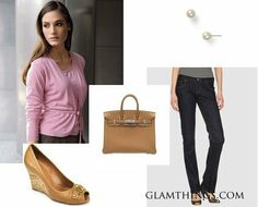 Soft Summer Casual: For casual look mix dusty rose or raspberry with cocoa,  medium blue or grey. I picked classic dark wash  jeans for slimming effect.  Nude wedges are very comfortable and elongate legs.