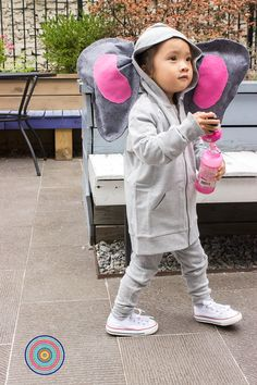 DIY Elephant Costume: Start with the Primary Hoodie and the pjs in heather gray + easy felt ears = the cutest and coziest elephant we have ever seen!