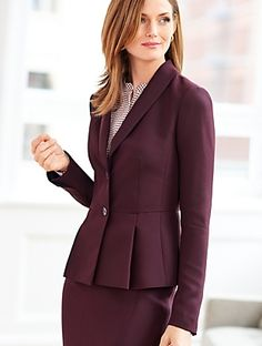 Talbots - Refined Crepe Pleated Peplum Jacket