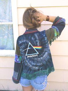 Eco Cropped Wrap, kimono jacket, fringe, fits size S L, fringe wrap, zasra, pink floyd, hippy, festival style, bohemian, tie dye