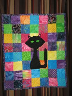 Black Cat Quilt by SeamsSustainable on Etsy, $50.00
