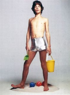 Mick Jagger, in you know - metallic shorts nbd