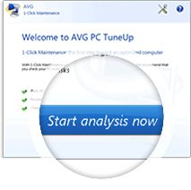 Üdvözöljük AVG PC TuneUp, Start elemzés most screenshot