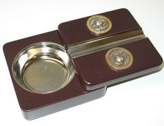 Twist-N-Go Travel Cigar Ashtray US Marines Marine Silver Gold Enameled Corps -