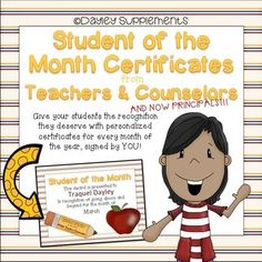 These certificates make student recognition from teachers and counselors a snap. There is one certificate for every month of the year from teachers, counselors, and principals totaling 36 certificates. I recommend printing them on white card stock.
