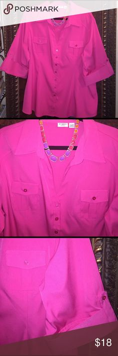 Pink Blouse 💗 CATO pink button down Blouse.  Quart length sleeves. Two front buttoned pockets. New without Tags. Size 22/24 Cato Tops Blouses