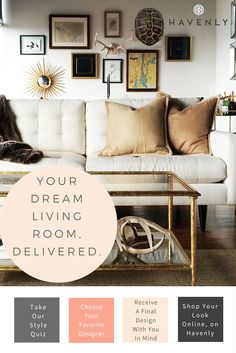 Love this look? So do we! Get your living room professionally designed, all online, delivered to your door with Havenly.