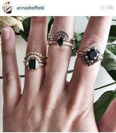 "Anna Sheffield. black engagment diamonds- wedding band ""tiara's"" enclose engagment ring"