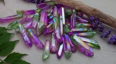 Aura quartz crystal point 100 ct lot new age healing crystal