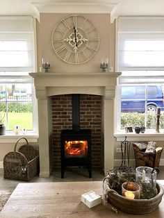 Wood Burner Fireplace, Cottage Shabby Chic, Chabby Chic, Decorating Tips, Woodworking, Living Room, Interior, House, Inspiration