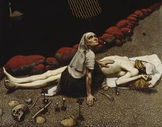 """ooksaidthelibrarian: """"Painting by Akseli Gallen-Kallela, depicting a scene from Kalevala, a Finnish epic poem. The warrior Lemminkainen had been killed, his body hacked to pieces and thrown into the dark river that flows through the underworld,..."""
