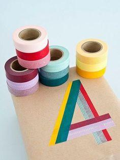 Always washi tape. gotta get me some washi tape Washi Tape Uses, Washi Tapes, Washi Tape Crafts, Colored Masking Tape, Tape Masking, Present Wrapping, Gift Wrapping Ideas For Birthdays, Birthday Wrapping Ideas, Birthday Ideas